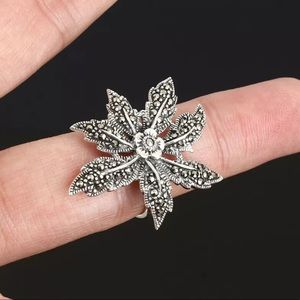 Sultan Ottoman Modern Flower Solid Silver Ring 8.5